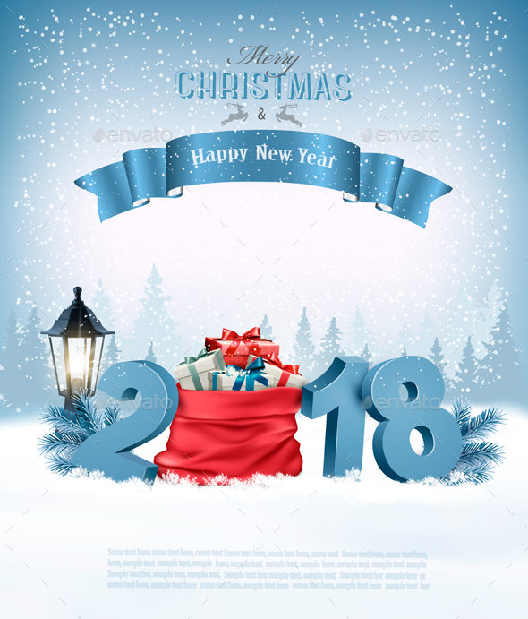 GraphicRiver Happy New Year 2018 Background with Presents 21164343