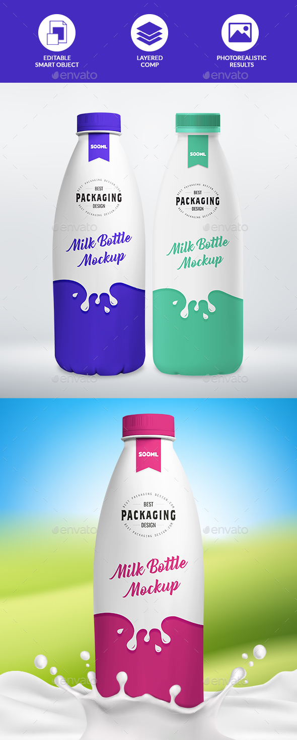 GraphicRiver 1L Milk Bottle Mockup 21164656