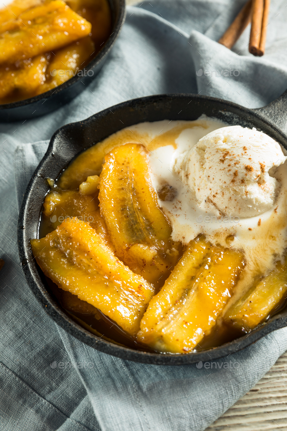 Homemade Sauteed Bananas Foster - Stock Photo - Images