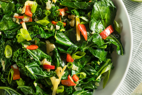 Homemade Organic Green Collard Greens - Stock Photo - Images
