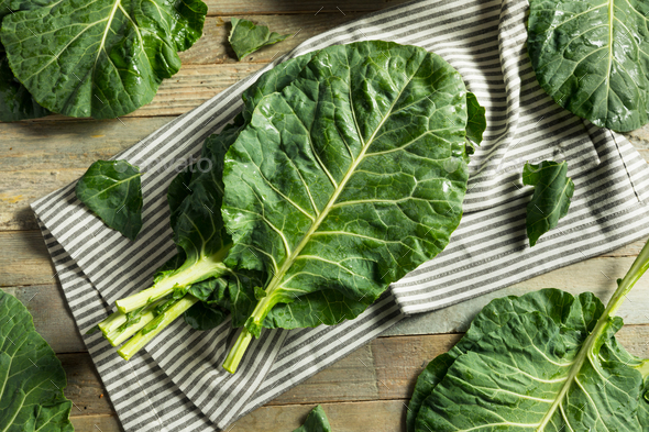 Raw Green Organic Collard Greens - Stock Photo - Images