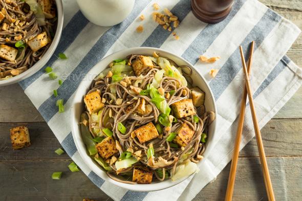 Homemade Asian Tofu Soba Noodle Bowl - Stock Photo - Images