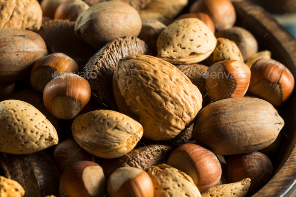 Whole Shelled Organic Mixed Nuts - Stock Photo - Images