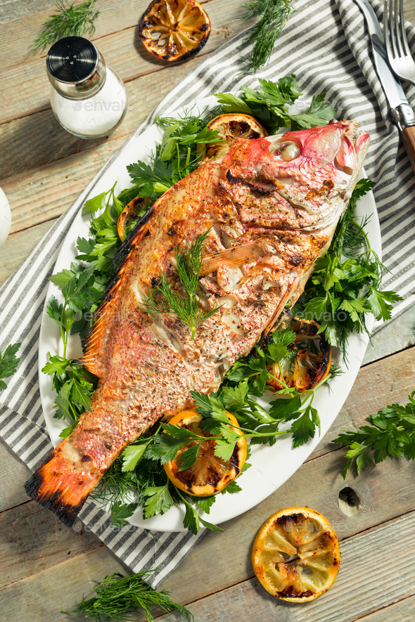 Homemade Grilled Whole Red Snapper - Stock Photo - Images
