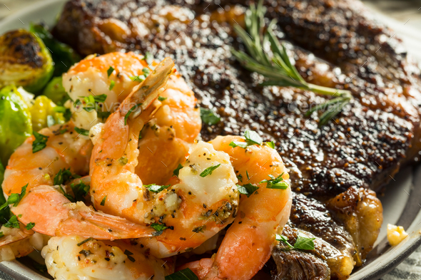 Gourmet Homemade Steak and Shrimp - Stock Photo - Images