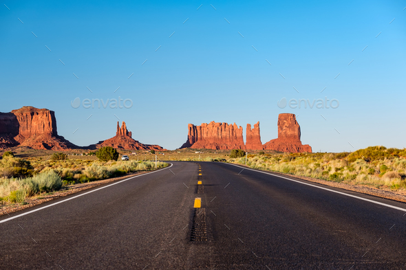 Empty scenic highway in Monument Valley - Stock Photo - Images