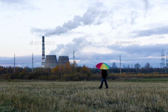 Umbrella in hand - Stock Photo - Images