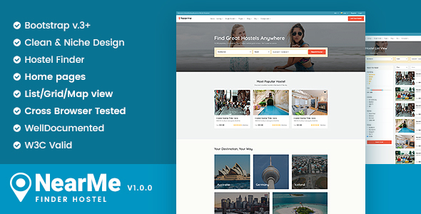 Download Nearme - Hostel Accommodation Booking Responsive Templates            nulled nulled version