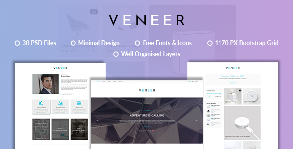 Veneer Blog | Minimal eCommerce Blog PSD Template