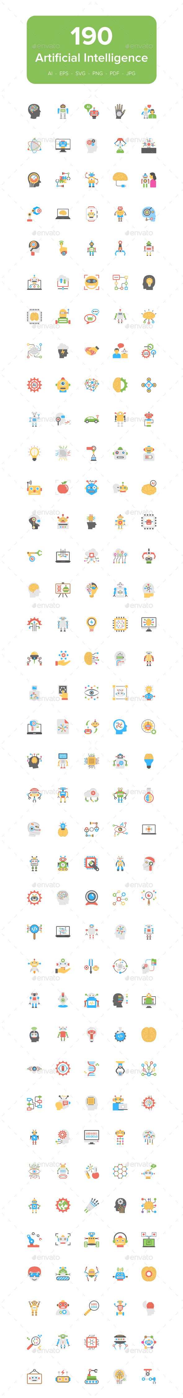 GraphicRiver Artificial Intelligence Flat Icons 21165696