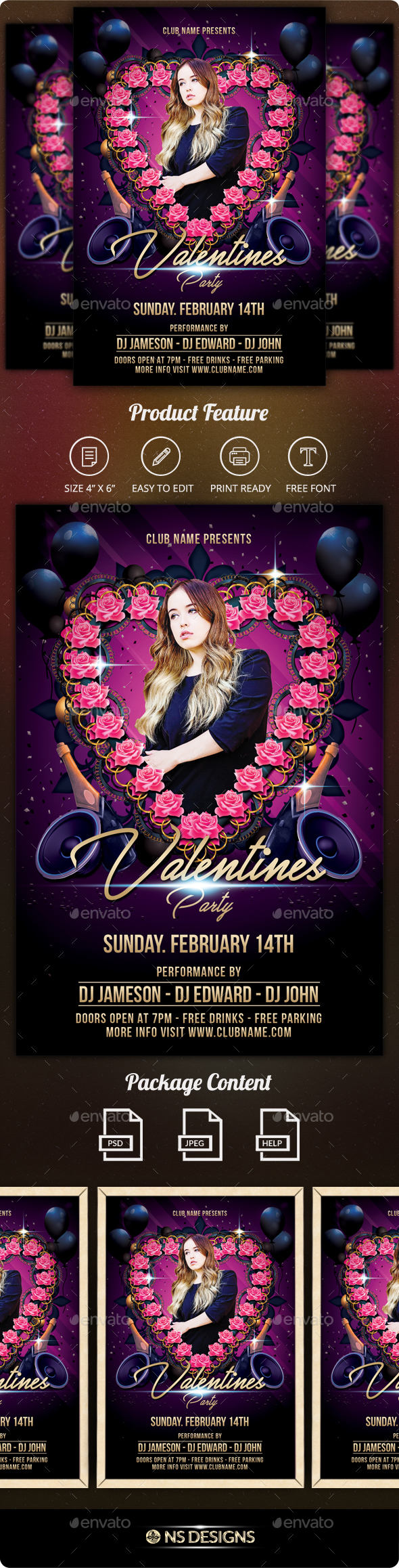 Valentine Flyer - Clubs & Parties Events