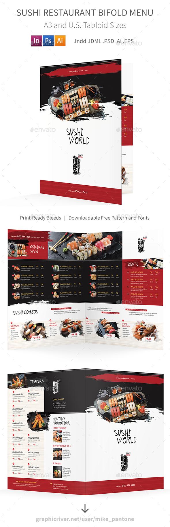 GraphicRiver Sushi Restaurant Bifold Halffold Menu 3 21166202
