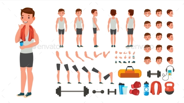 Fitness Man Vector - People Characters
