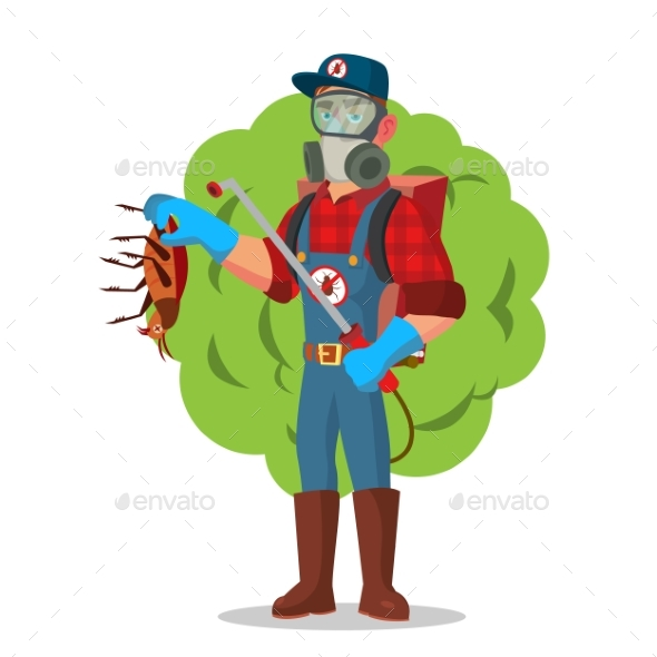 Anti Germs Vector Exterminator Spraying - People Characters