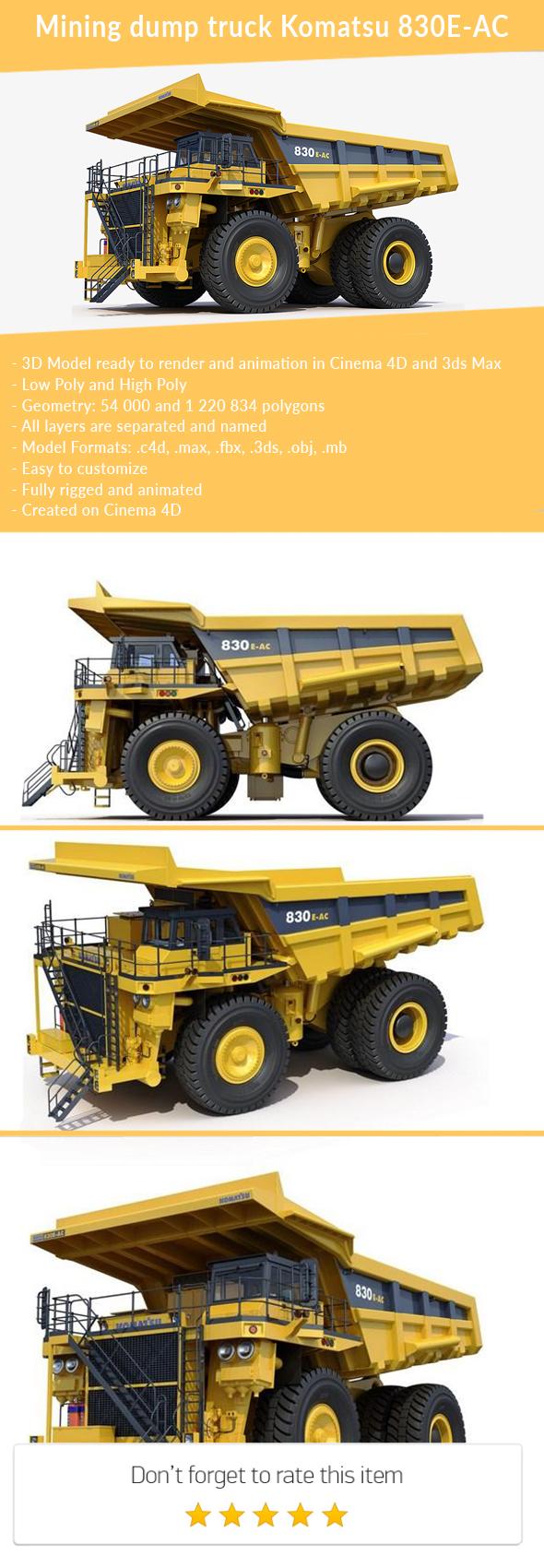 3DOcean Mining dump truck Komatsu 830E-AC 21166252