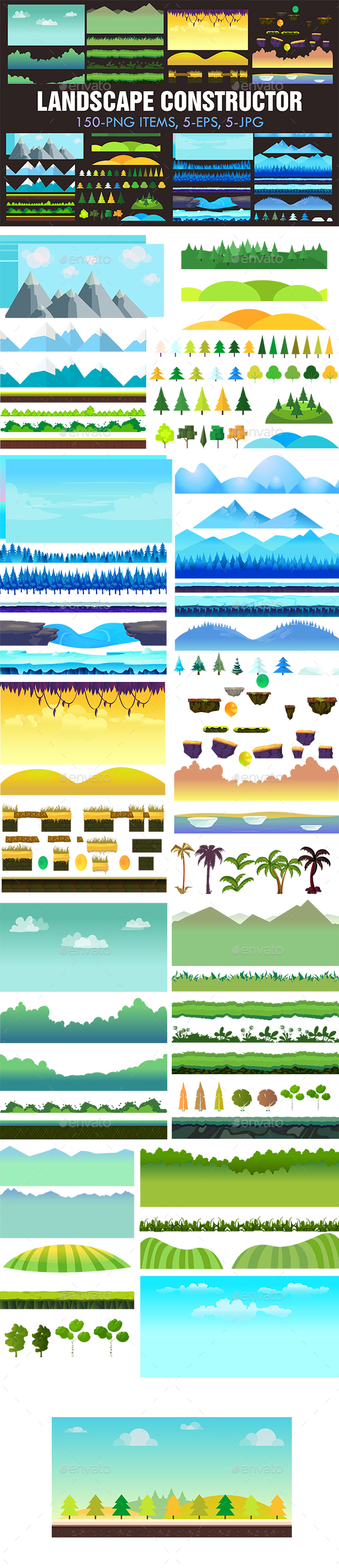 Landscape Constructor Set I - Backgrounds Game Assets