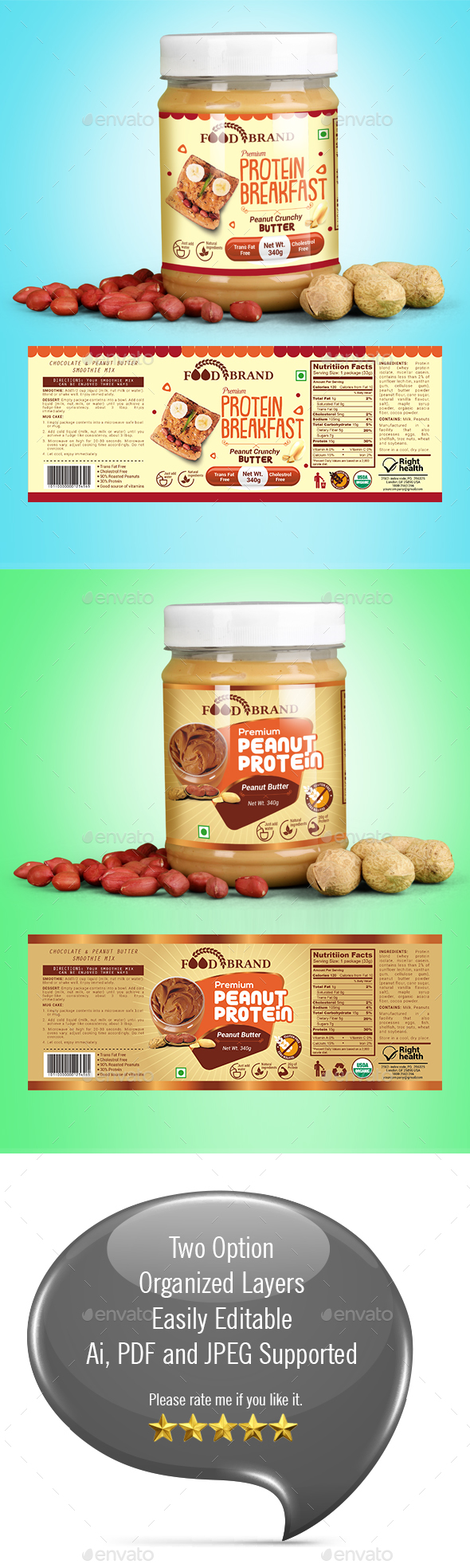 GraphicRiver Peanut Butter Packaging Template 21166606
