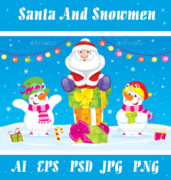 Santa And Snowmen Give Gifts. Vector. - New Year Seasons/Holidays