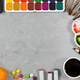 Artist workspace on gray stone background. - PhotoDune Item for Sale