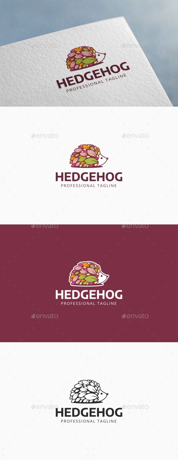 Hedgehog Leaves Logo - Animals Logo Templates