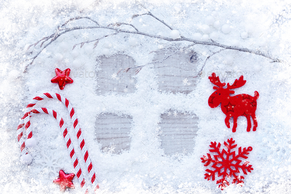 Christmas background. Greeting card with snow and christmas deco - Stock Photo - Images