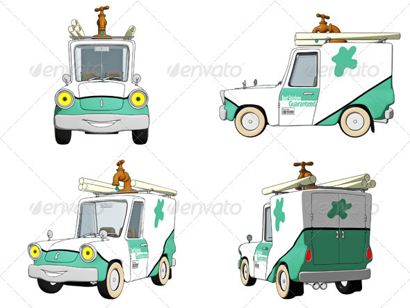Cartoon Plumbing Truck  - Objects Illustrations