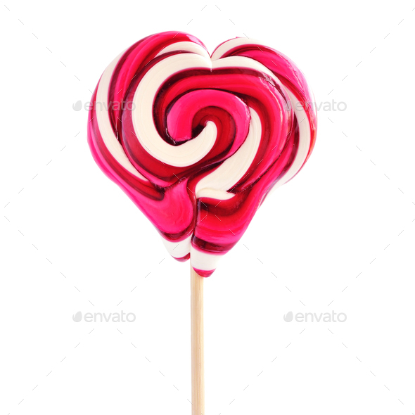 Colourful lollipop in the shape of a heart isolated on white bac - Stock Photo - Images