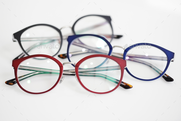 Multicolored glasses on the white background - Stock Photo - Images