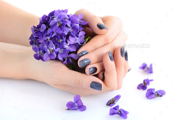 Hands of a woman with dark manicure on nails and bouquet of viol - Stock Photo - Images