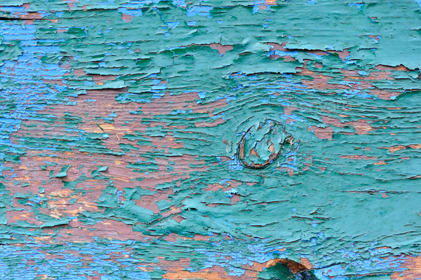 Old wooden painted blue planks, paint peeling background - Stock Photo - Images