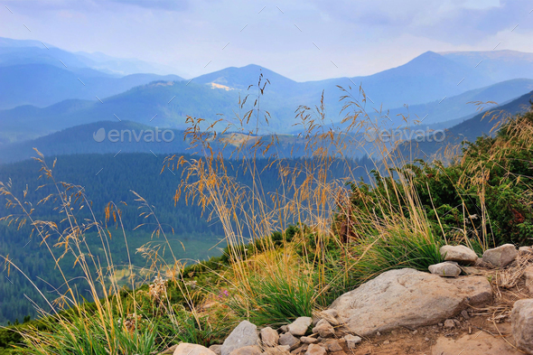 Wonderful mountain landscape. Cloudy day. Autumn grass in the fo - Stock Photo - Images