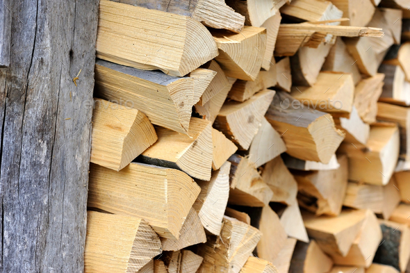 Pile of firewood. Preparation of firewood for the winter. Backgr - Stock Photo - Images