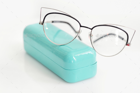 Glasses case with fashionable glasses on white background - Stock Photo - Images