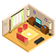Vector Isometric Drawing Room Interior Design