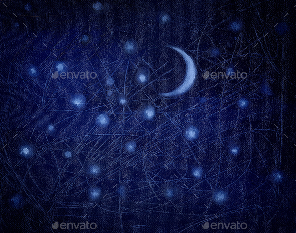 Starry night sky as a background. Blue decorative background pai - Stock Photo - Images