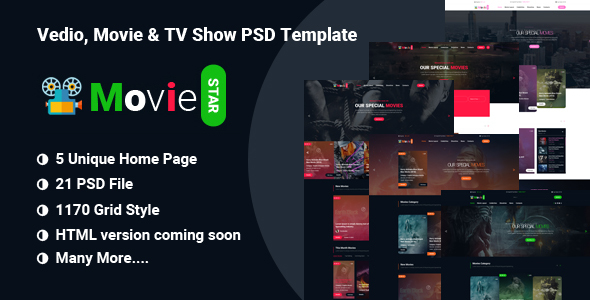 Download MOVIIE STAR  - Online Movie, Video & TV Show PSD Template            nulled nulled version