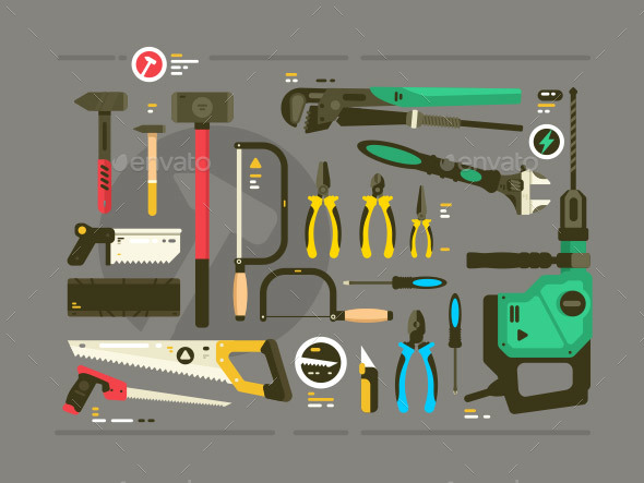 GraphicRiver Set of Tools for Construction and Repair 21167900
