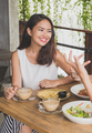 beautiful young woman smiling while having lunch with friends - PhotoDune Item for Sale