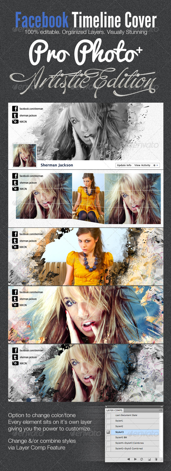 ProPhoto Artistic Facebook Timeline Cover Template - Facebook Timeline Covers Social Media