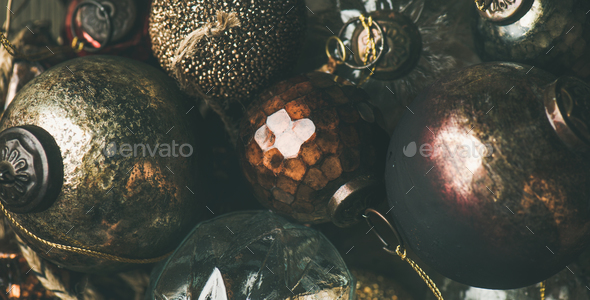 Vintage Christmas or New Year holiday decoration balls - Stock Photo - Images