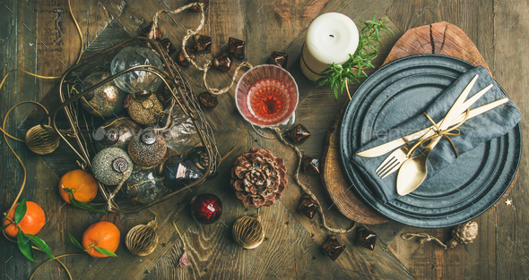 Christmas or New Years eve holiday table setting, top view - Stock Photo - Images