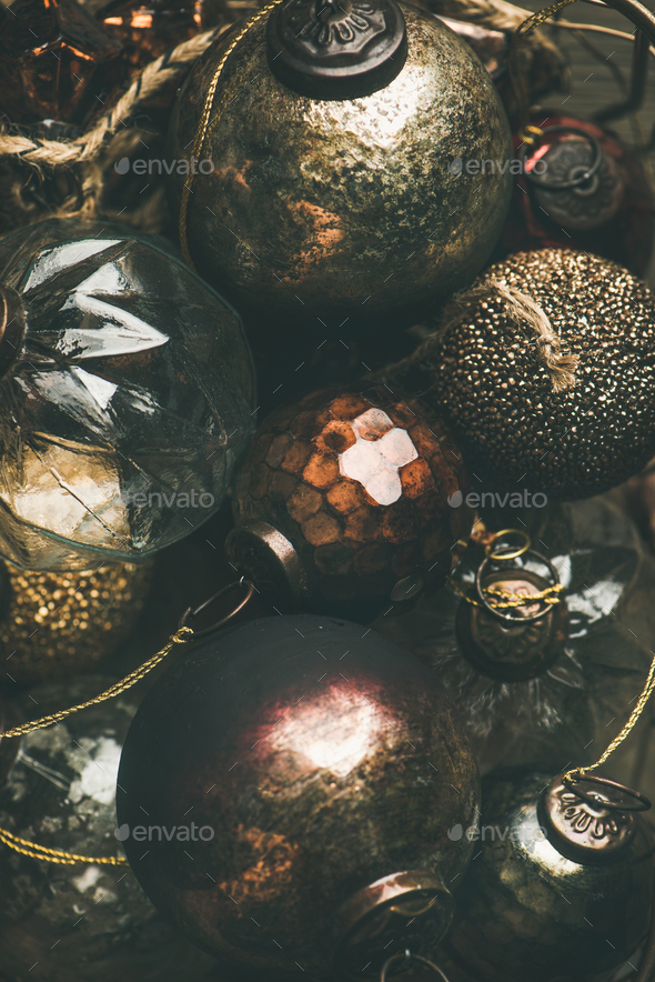 Vintage Christmas or New Year holiday decoration balls, vertical composition - Stock Photo - Images