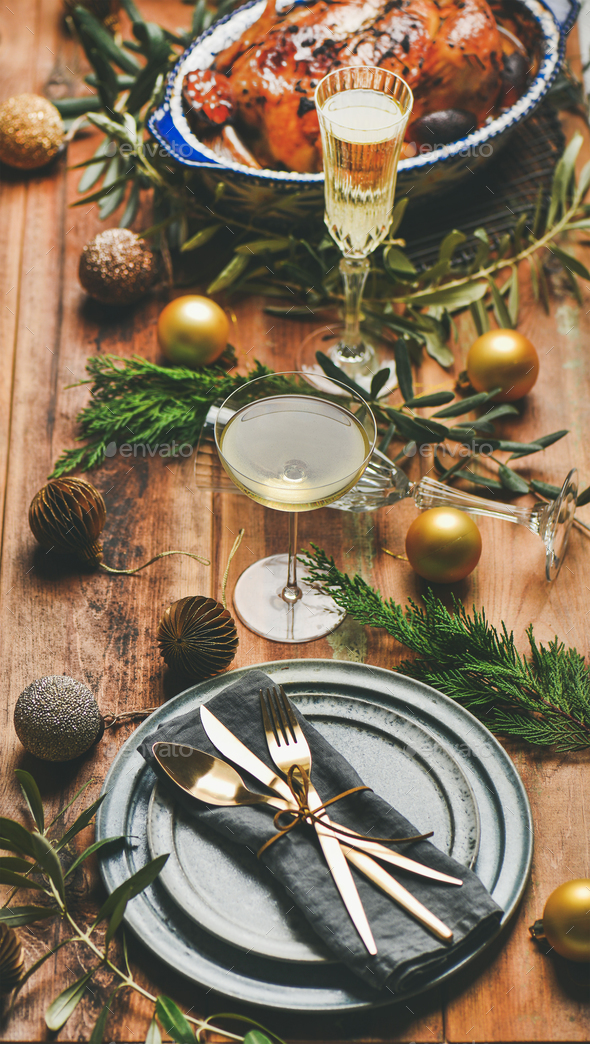 Holiday celebration table setting over rustic wooden background, selective focus - Stock Photo - Images