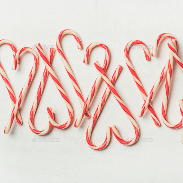 Christmas holiday candy cane pattern, texture and background, square crop - Stock Photo - Images