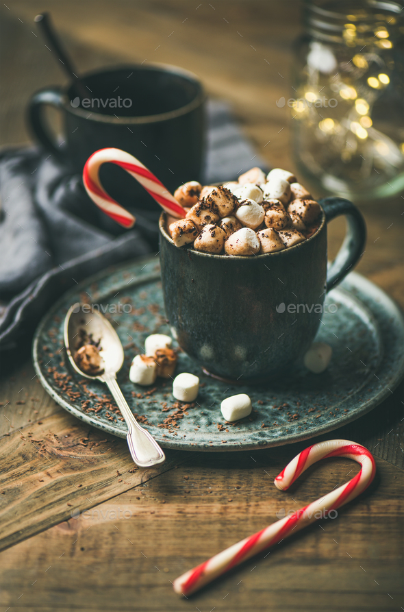 Christmas hot chocolate with marshmallows and cocoa on wooden background - Stock Photo - Images