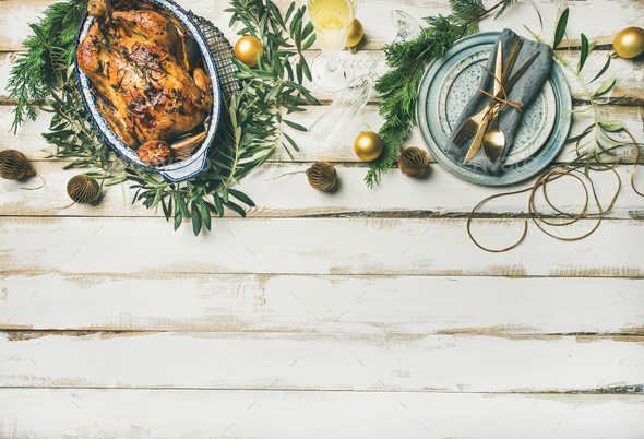 Christmas or New Year celebration table setting, copy space - Stock Photo - Images