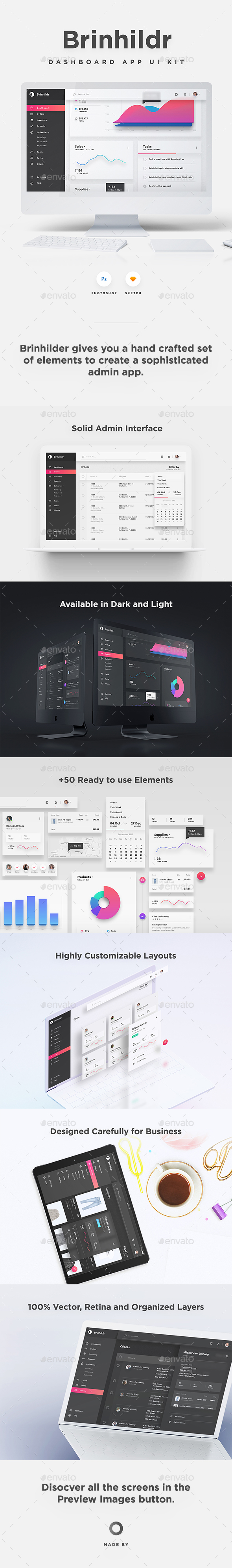 GraphicRiver Brinhildr Dashboard Web App UI Kit 21168339