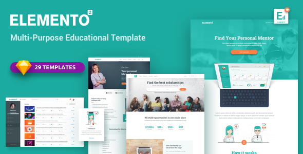 Download Elemento for Education - Sketch Template            nulled nulled version