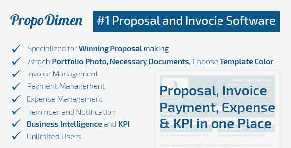 PropoDimen: Client Impressive Proposal/quotation Maker With Invoice,  Payment, Expense And KPI