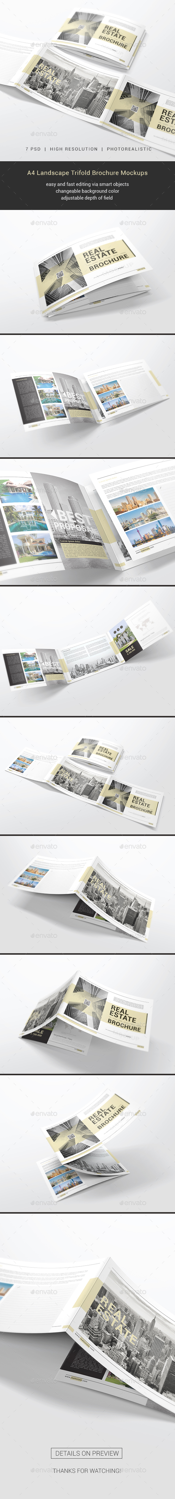 GraphicRiver A4 Trifold Brochure Mockups 21168451